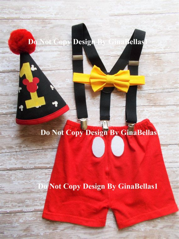 Mickey Mouse Birthday Cake Smash Outfit Costume First Boy Shorts One 1st Necktie Bow Tie Hat 9 12 18 24 M Toddler