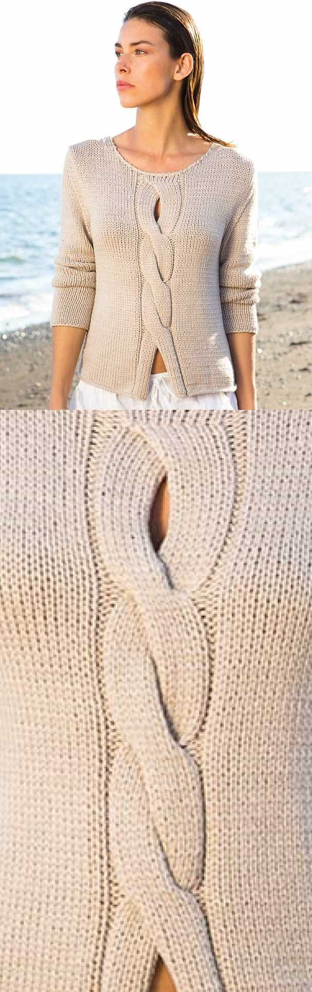 Ladies Top Free Knitting Pattern with a Center Cable | Ladies tops ...