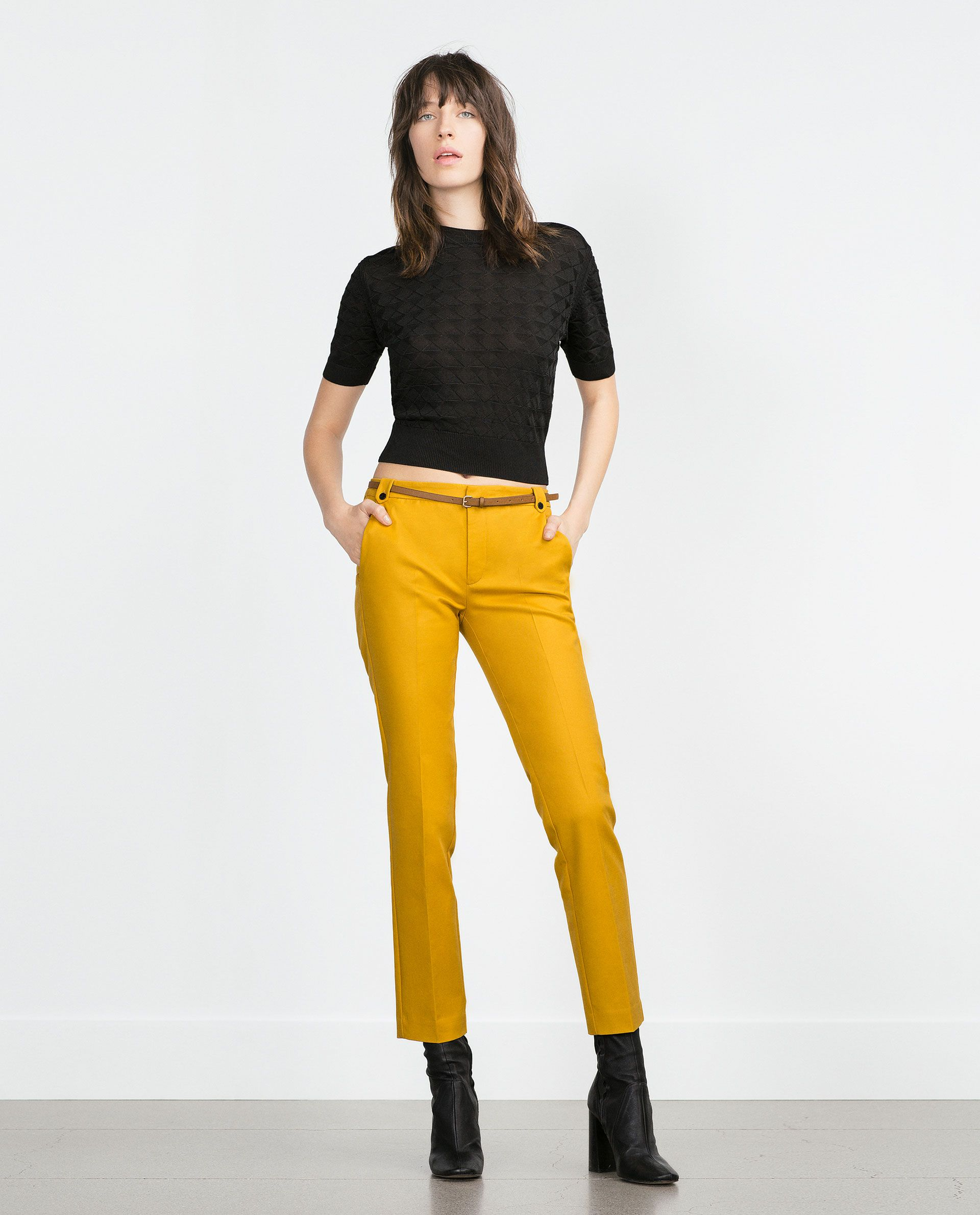 Imagem 1 de CALÇAS DUPLO TECIDO da Zara | Pantalones mostaza
