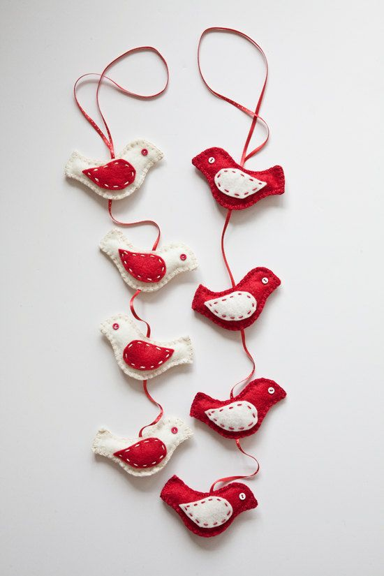 Clearance felt birds christmas garland felt birds for Christmas ornaments clearance