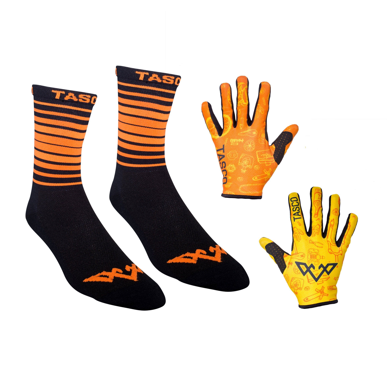Double Digits Glove & Sock Kit - Orange Bike Bits by Tasco