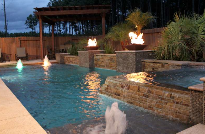 Pool Spa Fire Bowls Sun Deck Bubblers With Led