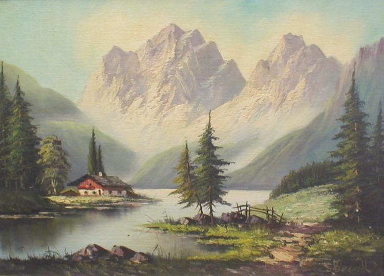 Description Mid 20th Century Landscape Oil On Canvas Board Of Bavarian Mountain Lake With A Chalet Before Mountains Sign Landscape Mountain Lake 20th Century