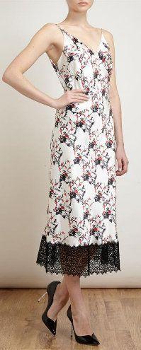 Floral Printed Silk-Satin Slip Dress