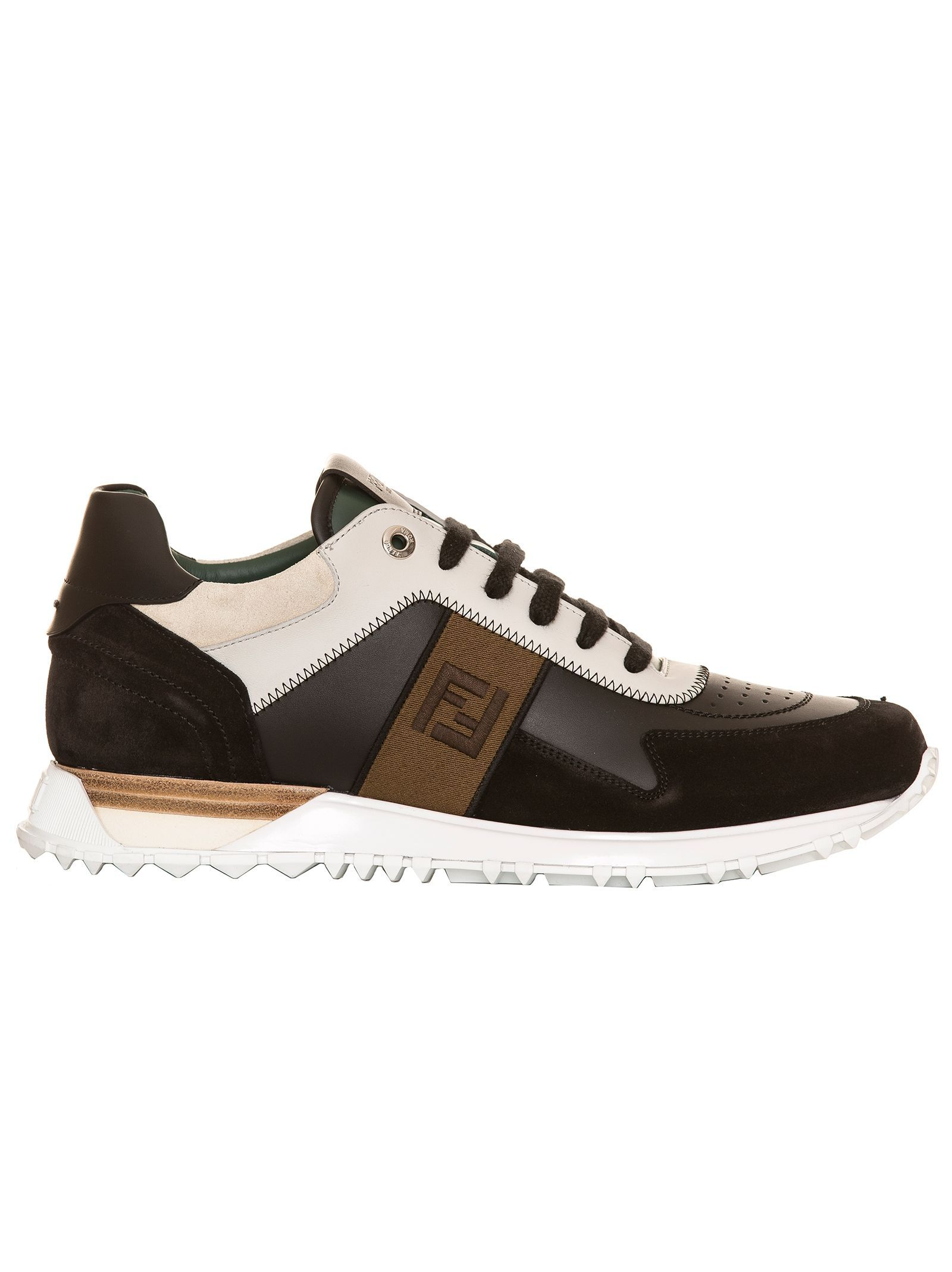 Fendi Leather And Suede Sneakers Black In Multicolour Modesens Sneakers Penny Loafers Fendi