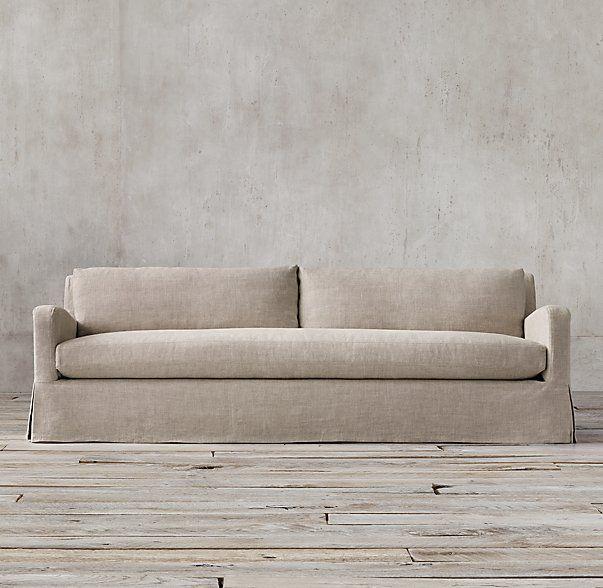 7u0027 The Petite Belgian Slope Arm Slipcovered Sofa
