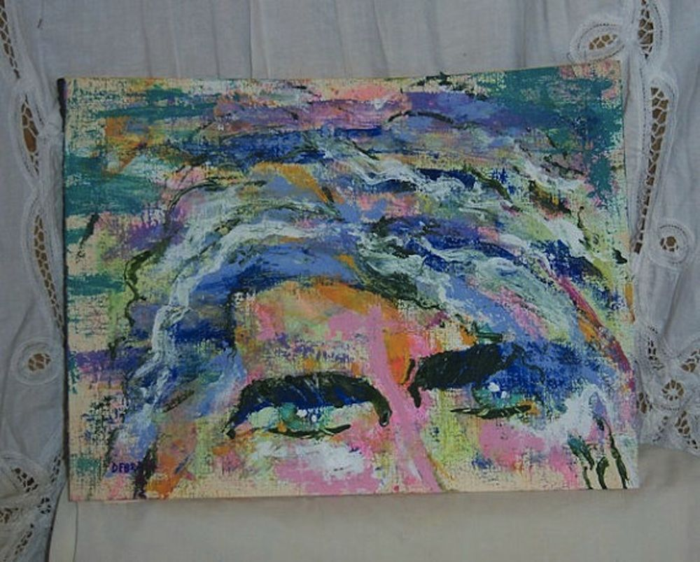 """9x12"""" Original abstract modern Knife Painting Sexy Guy Eyes Look acrylics #NYCArt"""