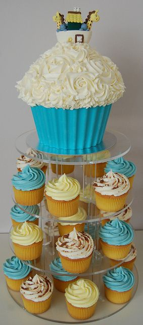 Noah's Arc Christening giant cupcake and cupcakes by Little Paper Cakes, via Flickr