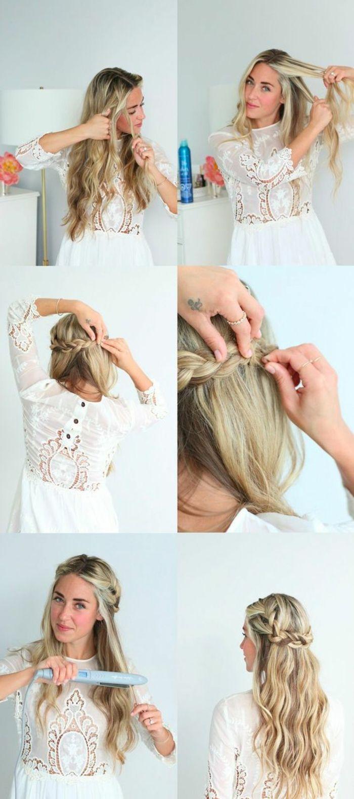 Weisses Kleid Mit Spitze Lange Lockige Blonde Haare Flechtfrisur Flechtfrisuren Geflochtene Frisuren Brautjungfern Frisuren