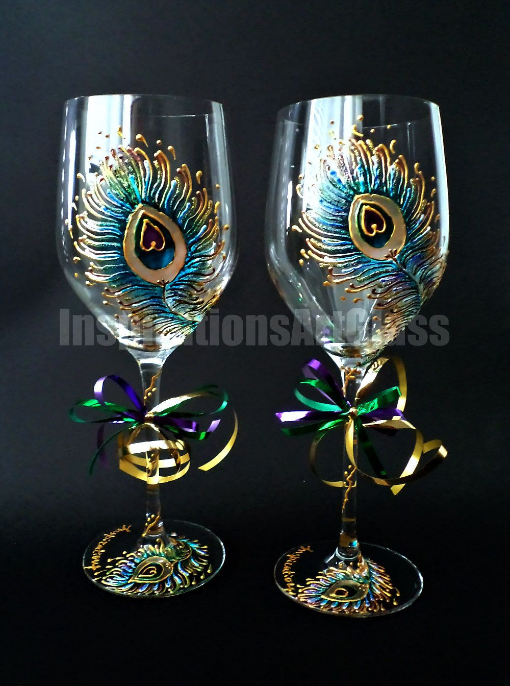 peacock glasses wine glass art hand by. Black Bedroom Furniture Sets. Home Design Ideas