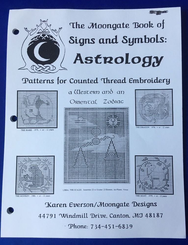 Moongate Book Of Signs And Symbols Astrology Patterns Counted Thread