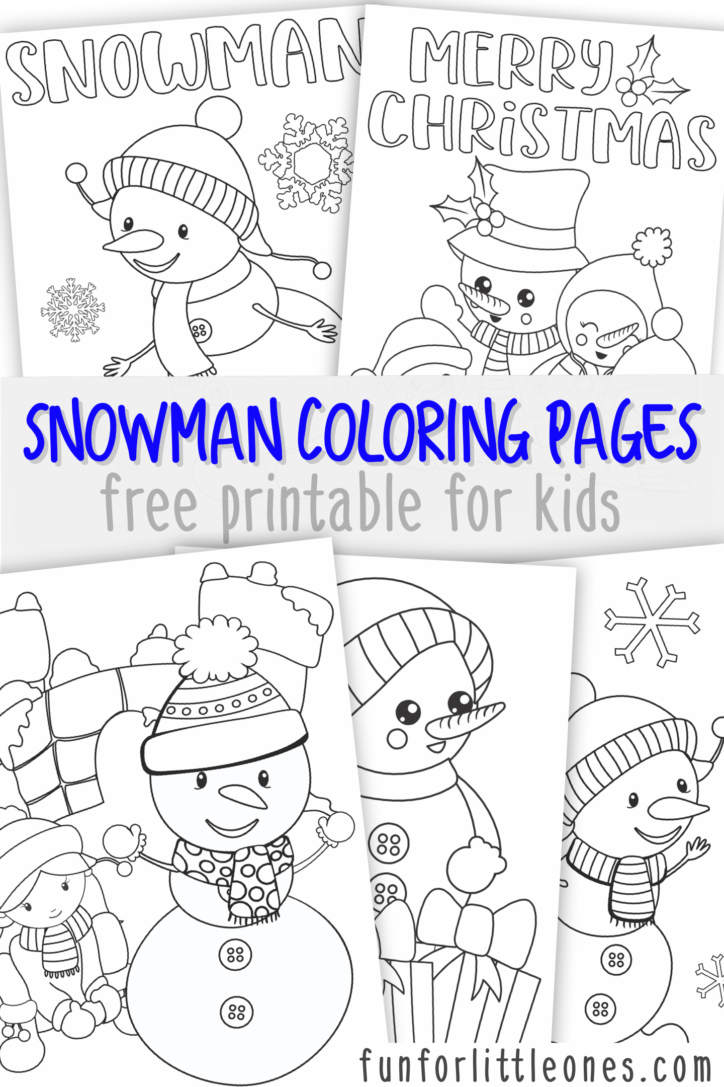 Snowman Coloring Pages For Kids Free Printable