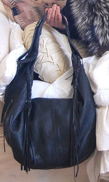 Large Black Deer Hide Bag by UrbanDogribDesigns on Etsy, $75.00