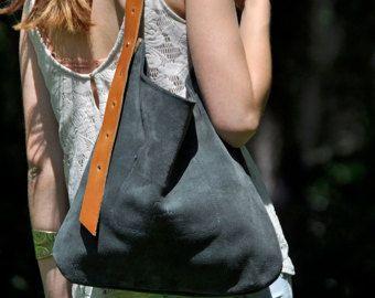 Cuero gris bolso cuero bolsa convertibles por SANTIbagsandcases