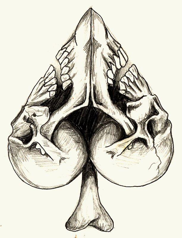 Skull Spade Draw Art