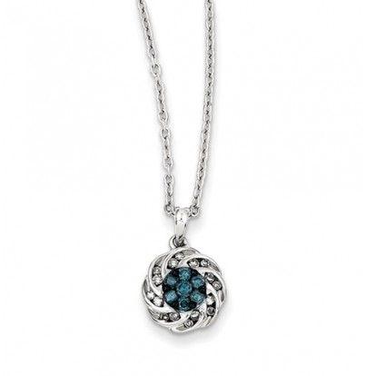 Sterling Silver Blue & White Diamond Round Pendant #Necklace