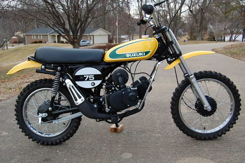 1974 suzuki tm75- light weight with a bullet-proof rotary-valved 2