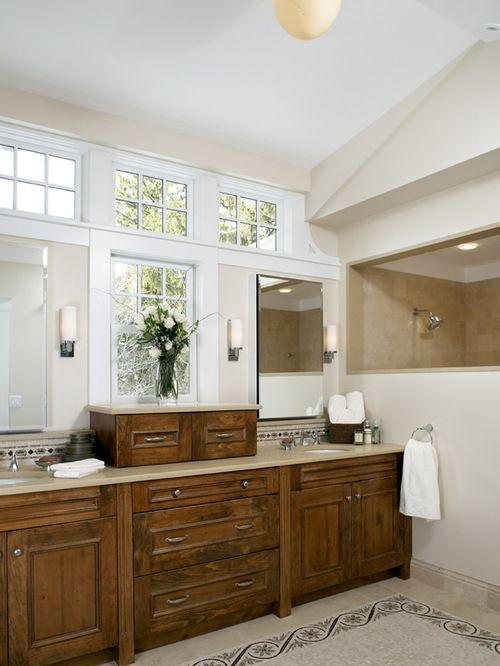 Photographic Gallery Windows above double vanity mirror
