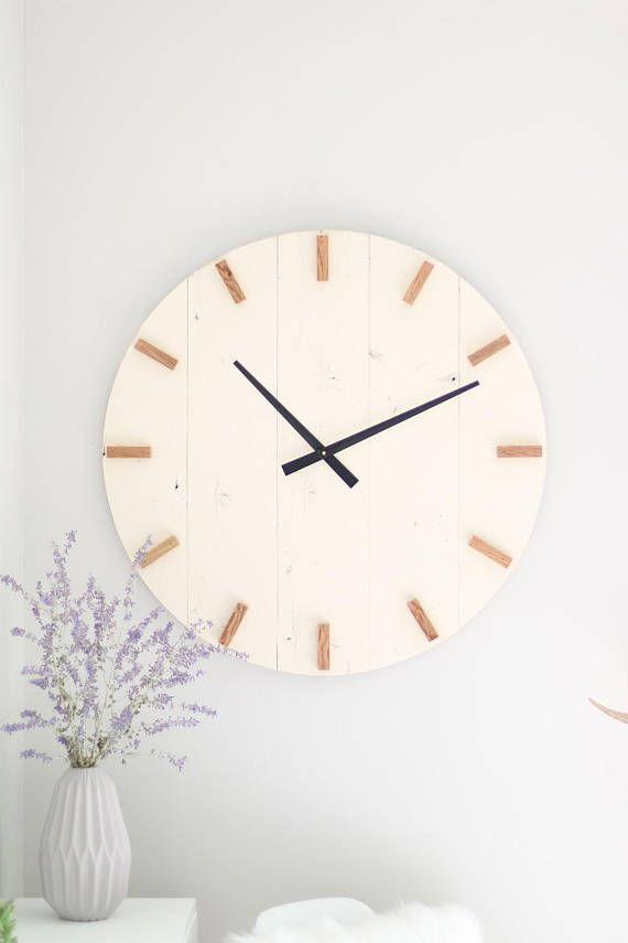 Large Wall Clock Mid Century Modern Boho Decor Neutral Etsy In 2021 Large Wall Clock Clock Wall Decor Wall Clock