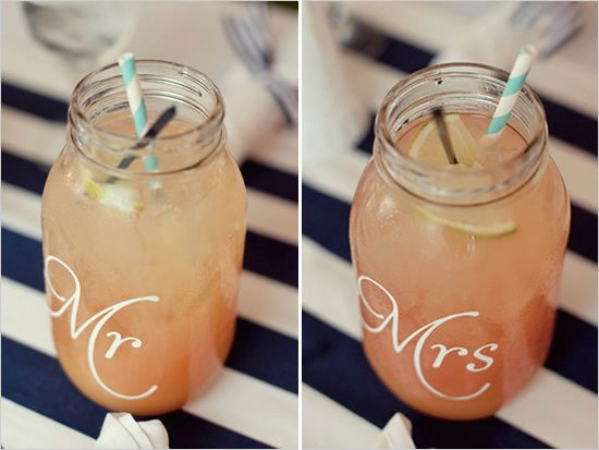 personalized mason jars... How cool if ALL guests got one?