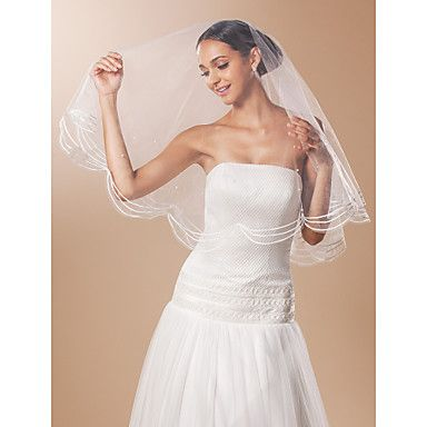 One-tier Fingertip Wedding Veil With Lace Pencil Edge And Bead – USD $ 4.99