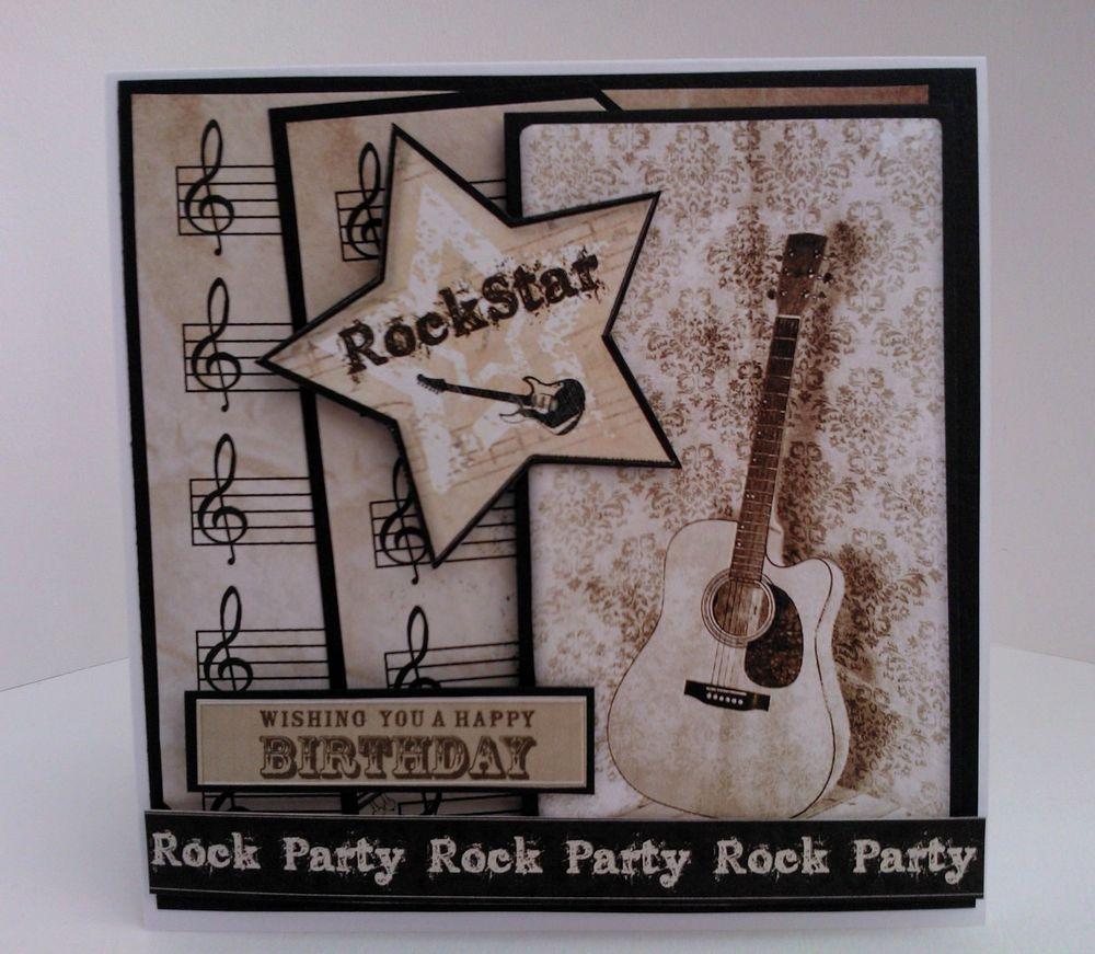 Handmade Music Birthday Card Male Female Guitar Music Notes Rock Star Musical Cards Card Making Birthday Cards Handmade