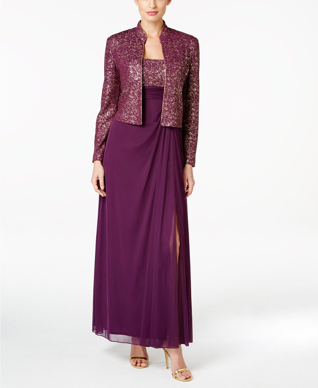 Alex Evenings Metallic-Print Chiffon Gown and Jacket | macys.com ...