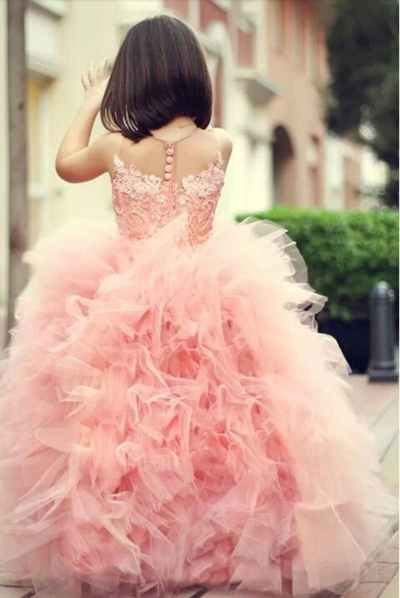 2014 Hot Sale Pink Cute Ball Gowns For Little Girls Crew Neckline ...