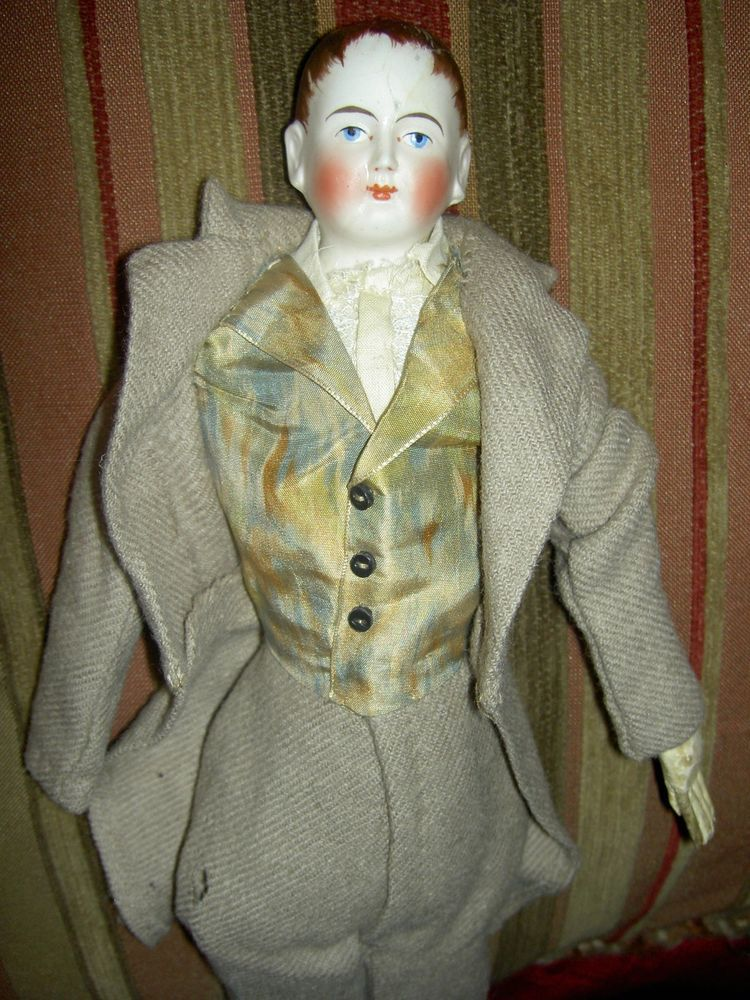 Very RARE antique bisque, fine French male fashion-style doll with old repairTLC