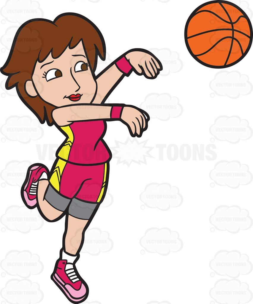 A Female Basketball Player Goes For A Three Point Play Basketball Players Basketball Cartoon People