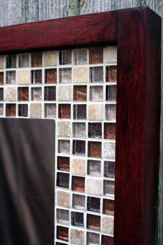Tile Framed Bathroom Mirror: Glass Mosaic Tile Framed Mirror, Brown Merlot Finish, 30 X