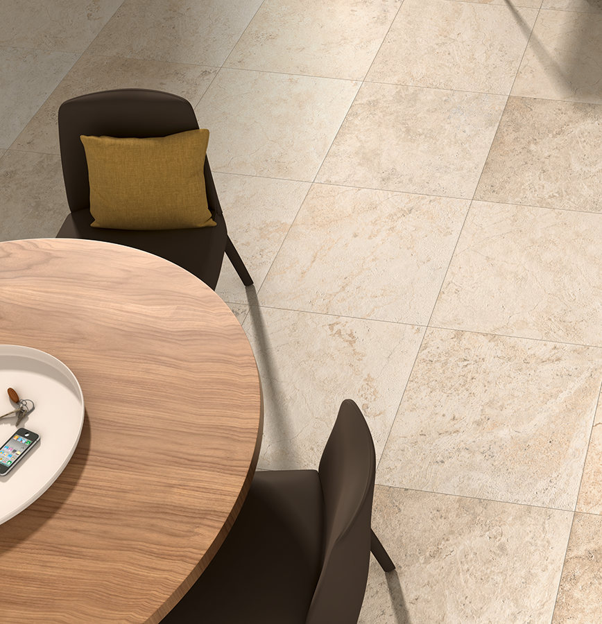 Warm Neutral Coloured Floor Tiles Look Great In A Kitchendinner