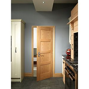 wickes marlow internal 4 panel oak veneer door 1981 x. Black Bedroom Furniture Sets. Home Design Ideas