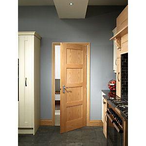 Wickes Marlow Oak 4 Panel Shaker Internal Door 1981mm X 762mm In