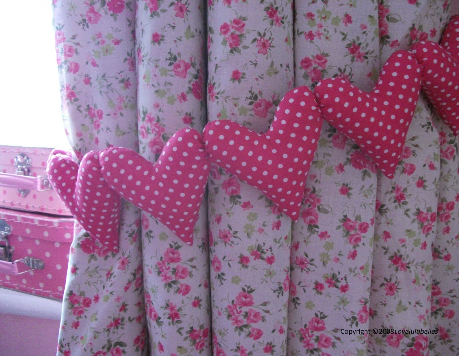 Hot pink curtains - Shabby Chic Hot Pink Polka Dot Curtain Heart Tie Backs Nursery Bedroom