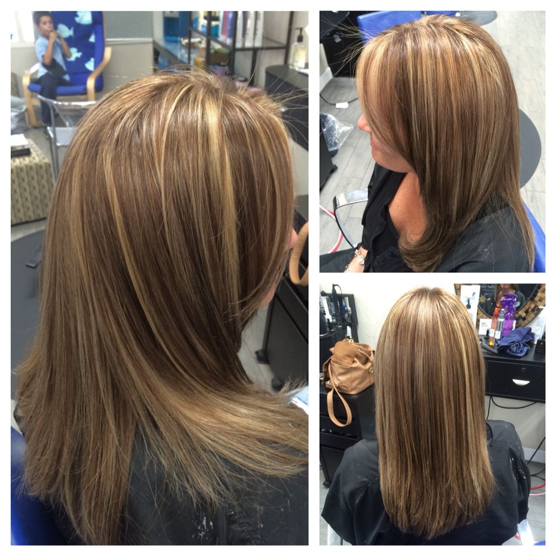 Cool Medium Brown With Blonde Highlights Long Layered Haircut Swoop Bang And Smooth Dry