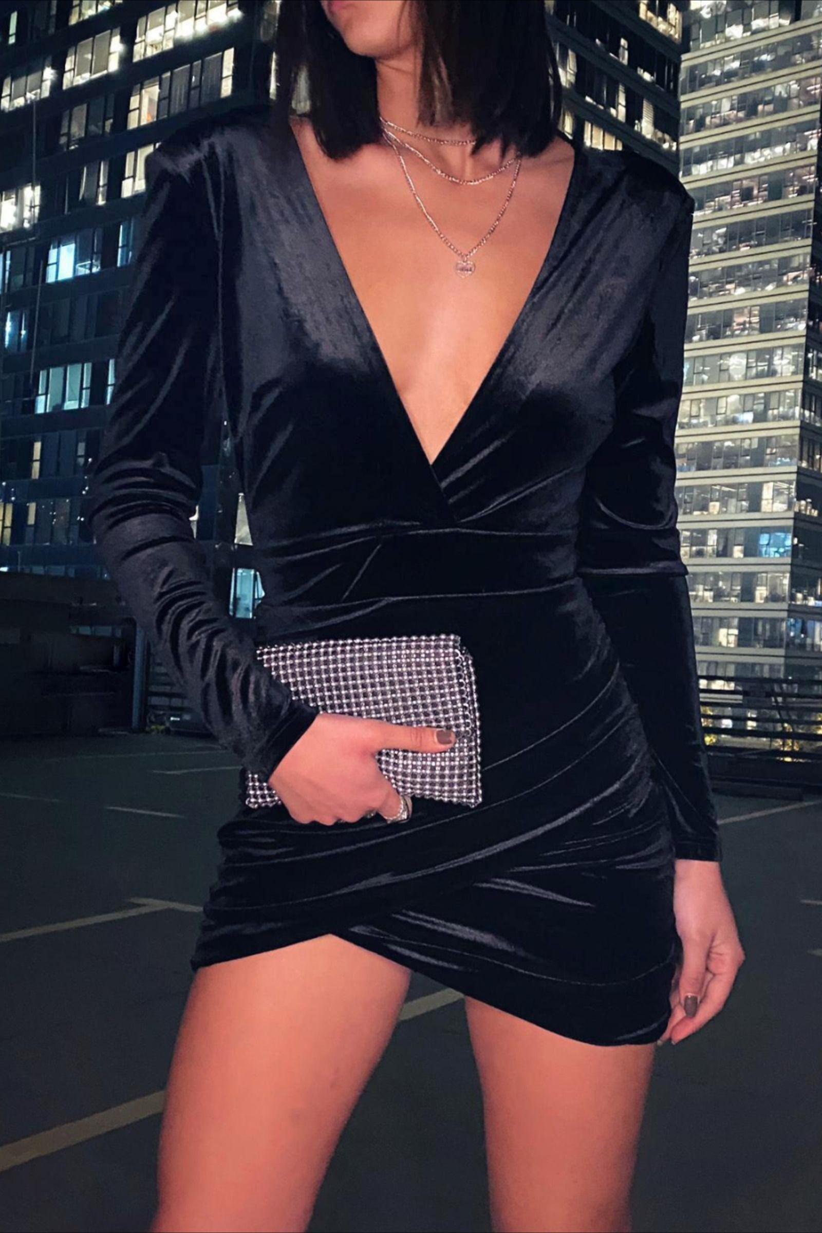 Adika Com Classic Night Out Look Little Black Dress Long Sleeves And Deep V Neck Women Dress Online Black Long Sleeve Dress Little Black Dress [ 2400 x 1600 Pixel ]