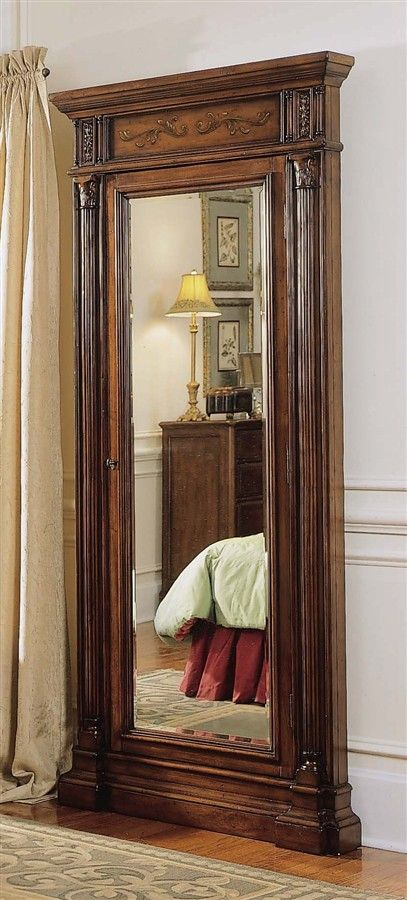 Luxurious Mirror Jewelry Armoire Antique Wooden Carved