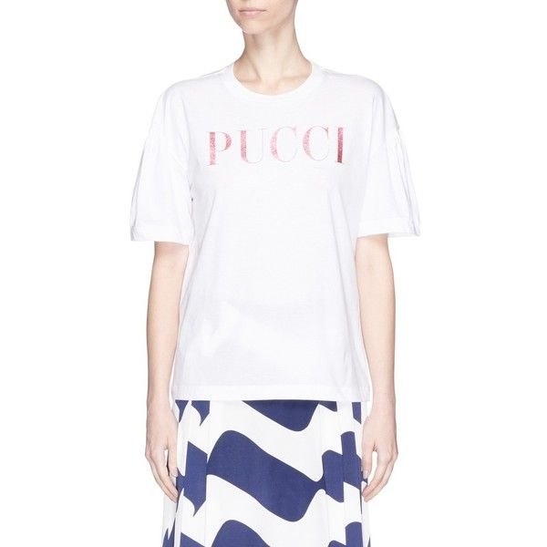 Buy Online Outlet Cheap Online glitter logo T-shirt - White Emilio Pucci Authentic Free Shipping Sale Online c2DxWn