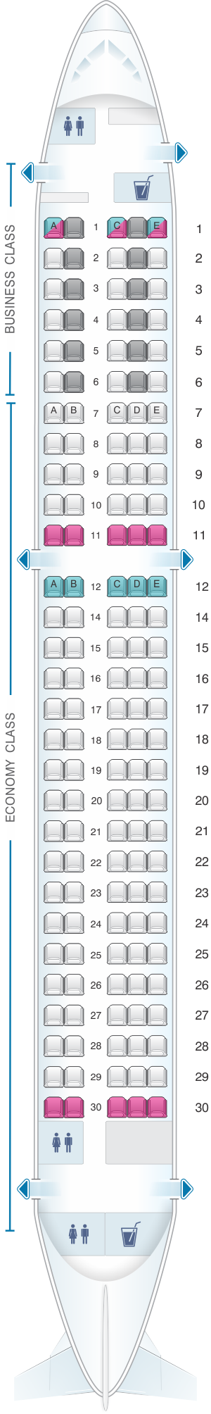 Seat Map SWISS Bombardier CS300 Malaysia airlines