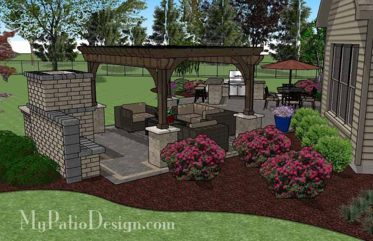 Rear Paver Patio Design With Pergola, Fireplace And Bar | 900 Sq Ft |  Download