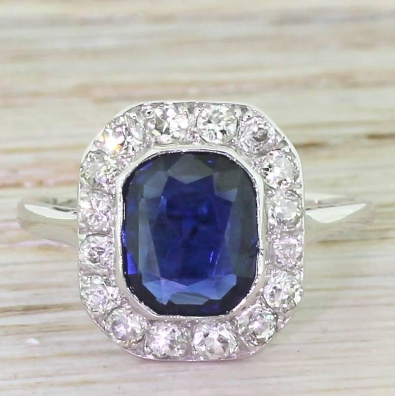 Art Deco 2.50 Carat Sapphire & Old Cut Diamond Ring, Austrian, circa 1930 | From a unique collection of vintage cocktail rings at https://www.1stdibs.com/jewelry/rings/cocktail-rings/