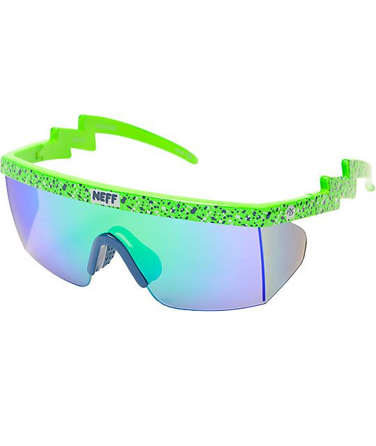 fb0682c55ea Get big play style like Richard Sherman with a signature green speckled  plastic frame with lightning bolt arms and tinted lenses.