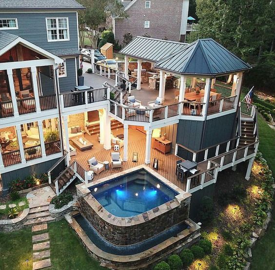 20 Awesome Outdoor Hot Tubs Ideas With Images House Exterior Dream House House