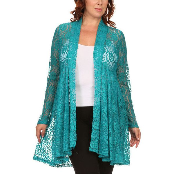 Pretty Young Thing Teal Lace Flyaway Cardigan ($25) ❤ liked on ...