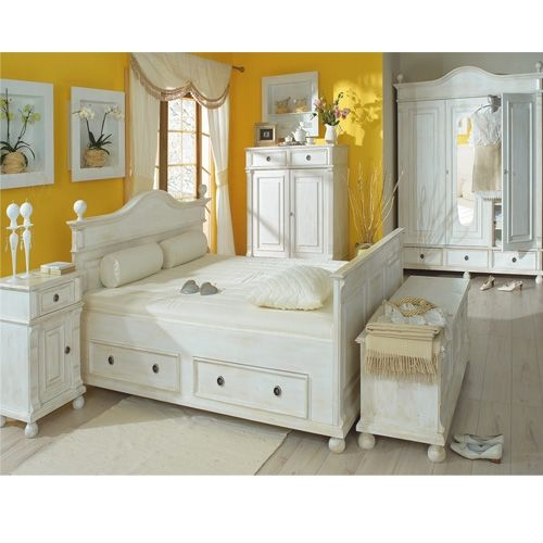 Landhaus Bett 160x200 cm Doppelbett Schubladen massiv