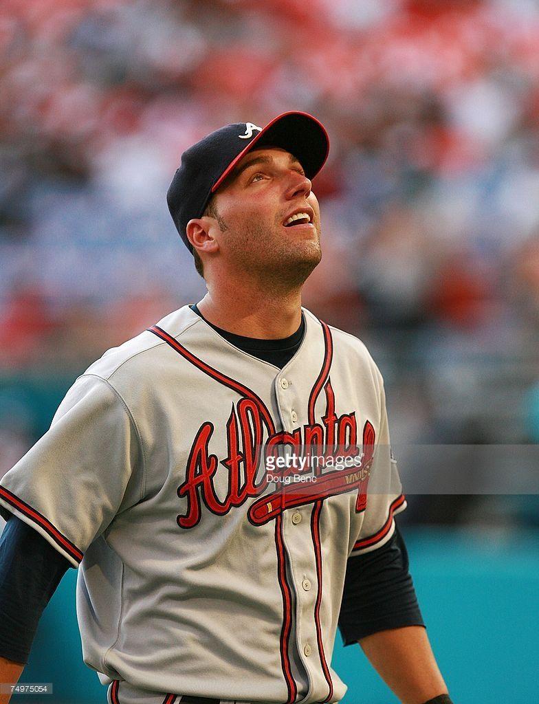 Right Fielder Jeff Francoeur Of The Atlanta Braves Looks Up At The Atlanta Braves Braves Atlanta
