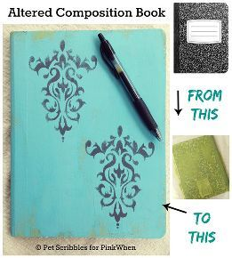 altered composition book, chalk paint, crafts, how to, repurposing upcycling