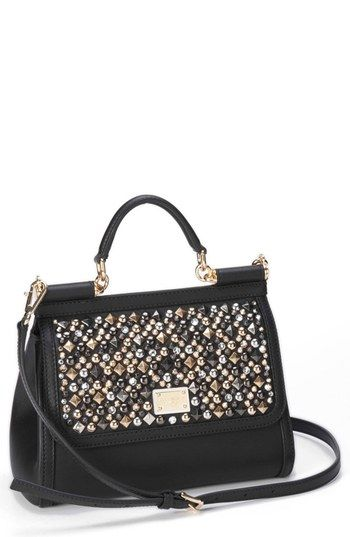 Dolce&Gabbana 'Miss Sicily - Mini' Studded Top Handle Leather Satchel available at #Nordstrom