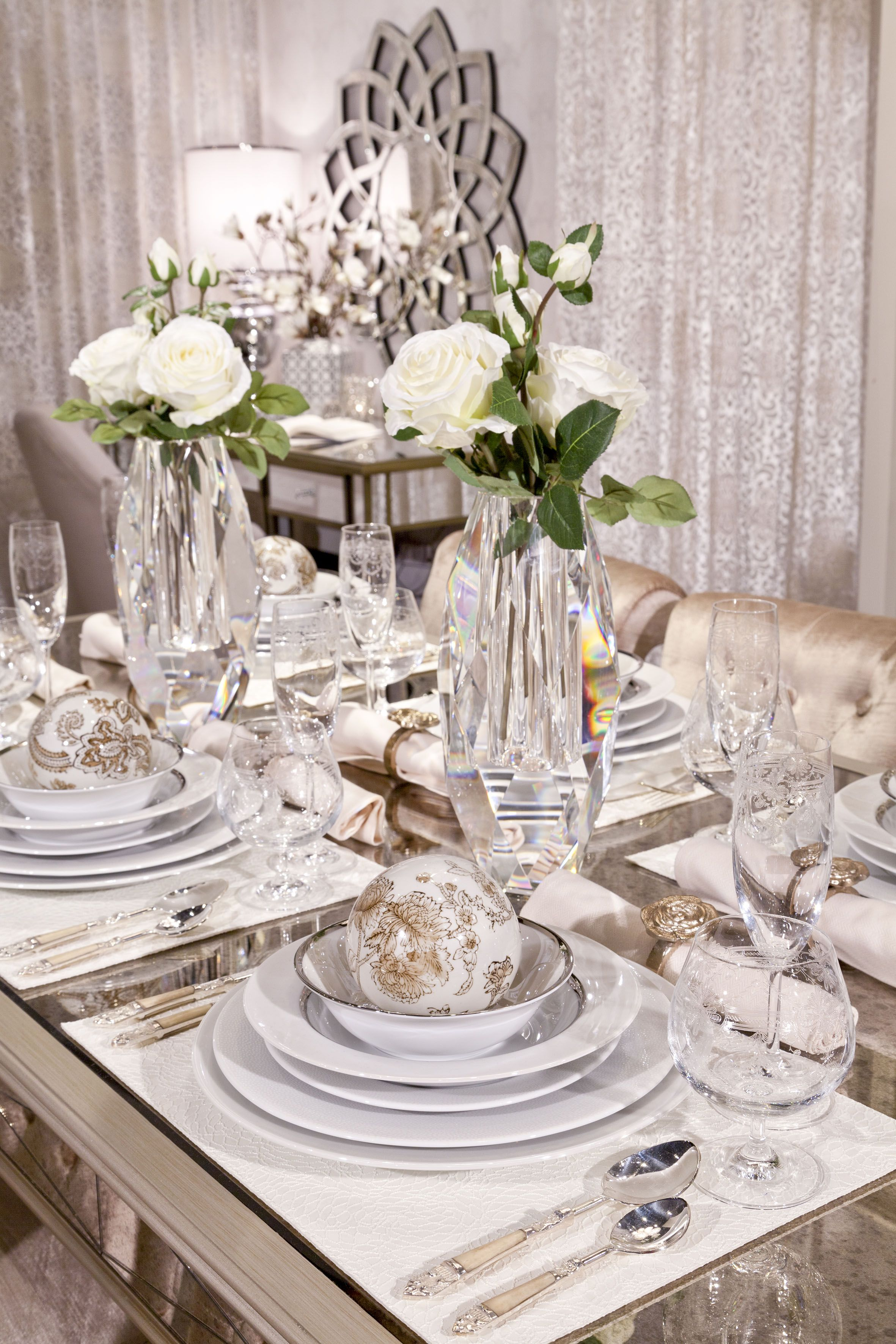 Dining Opulent Antique Mirrored Dining Table Served With Silver